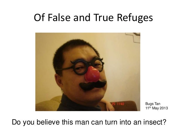 Of False and True RefugesBugs Tan11th May 2013Do you believe this man can turn into an insect?