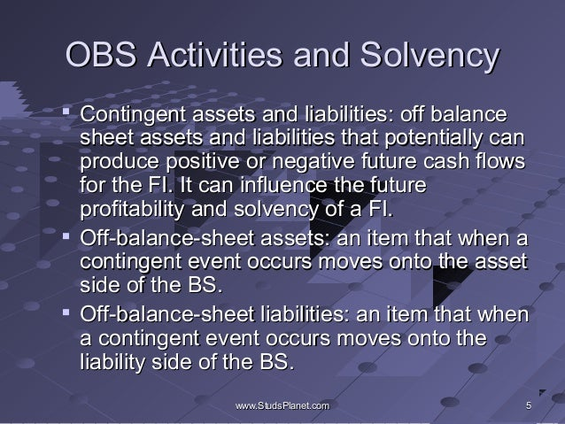 the effect of off balance sheet Currently, operational leases are reported off balance sheet, while financial  leases are reported on balance sheet the absence of information.