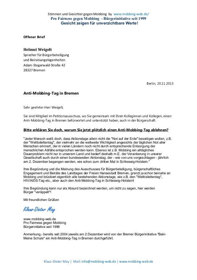 Helmut Weigelt Anti Mobbing Tag In Bremen Offener Brief An Herrn H
