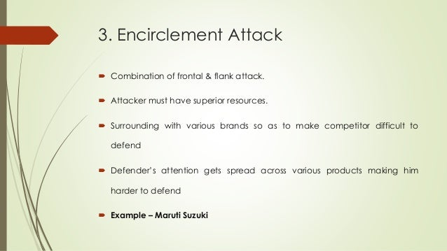 3. Encirclement Attack  Combination of frontal & flank attack.  Attacker must have superior resources.  Surrounding wit...