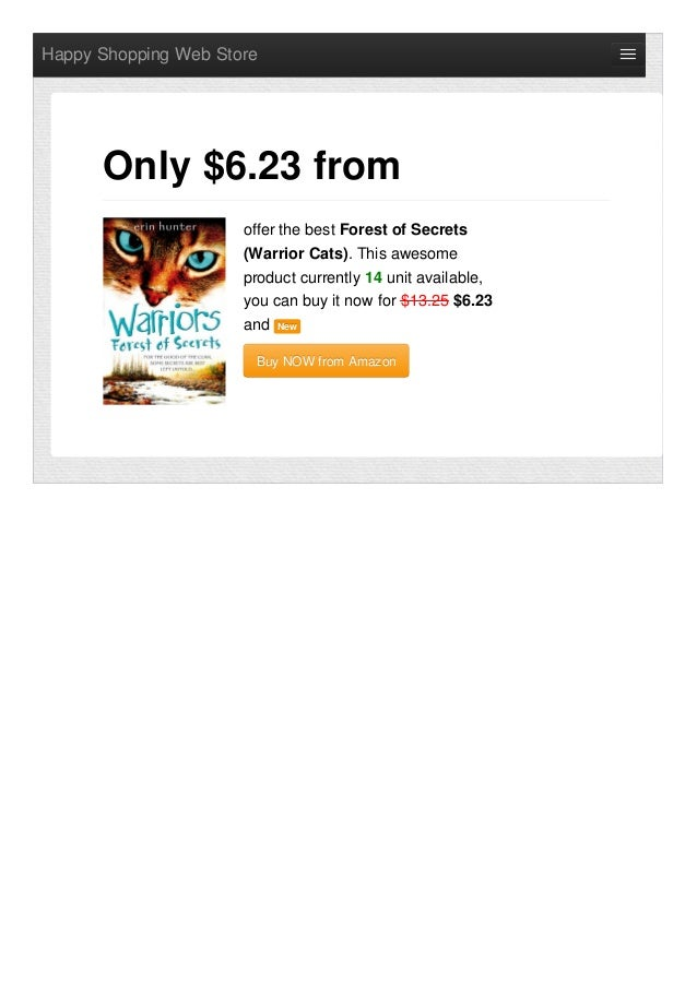 offer the best forest of secrets warrior cats only 623 from