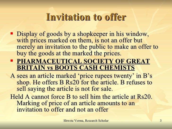 Is an invitation to treat an offer? Discuss? Essay