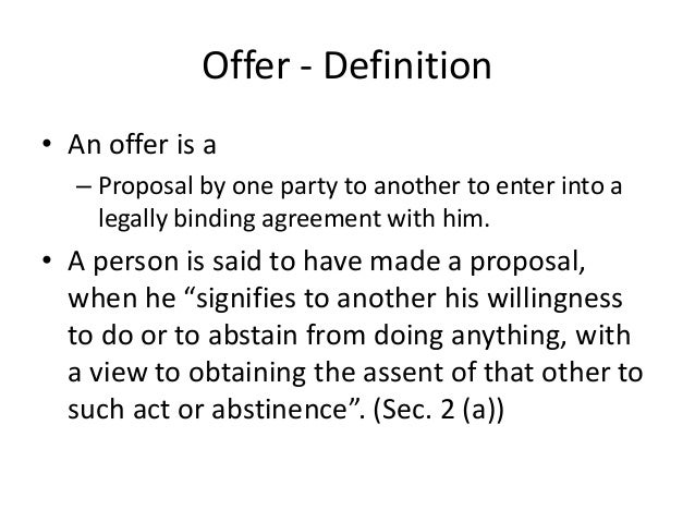 Offer and acceptance offer definition stopboris Choice Image