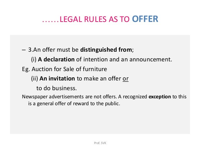 rules for offer and acceptance From contract law for dummies by scott j burnham  to be successful in contract law, you need to know the rules and.