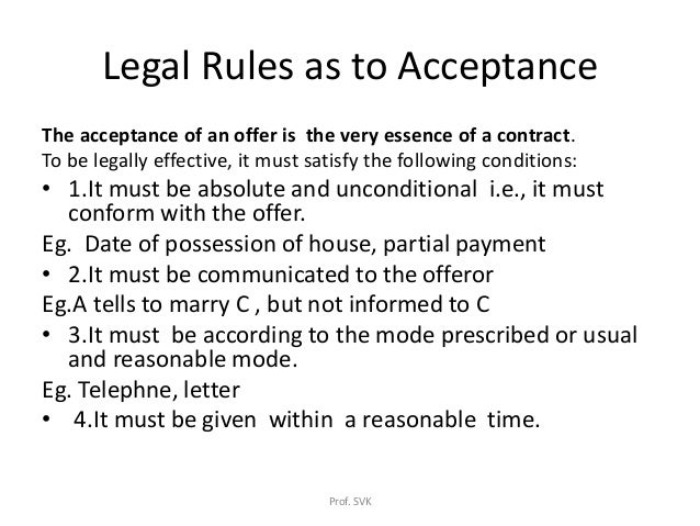 rules for offer and acceptance These rules are known as the rules on 'offer and acceptance' offer and acceptance: bilateral contracts the language of 'offer and acceptance' – and the idea underlying those rules, that contracts are based on agreement – is perfectly suited for the formation of bilateral contracts.