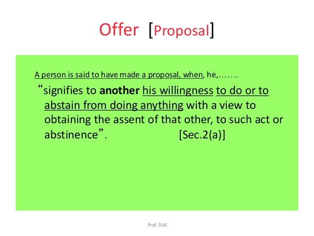 difference between offer and proposal in law