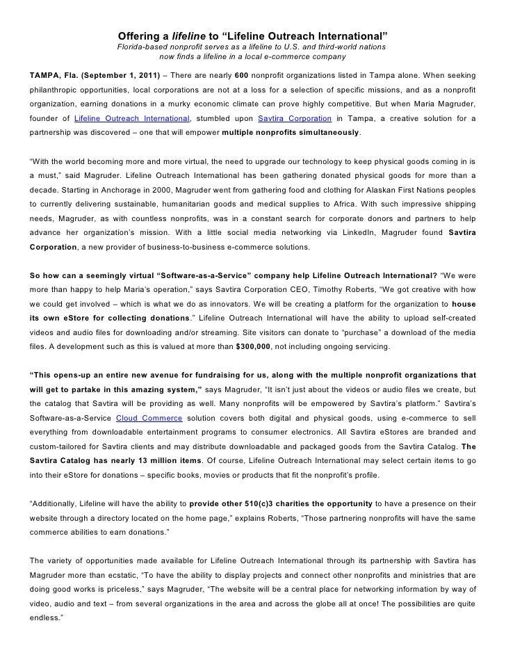 "Offering a lifeline to ""Lifeline Outreach International""                         Florida-based nonprofit serves as a lifel..."