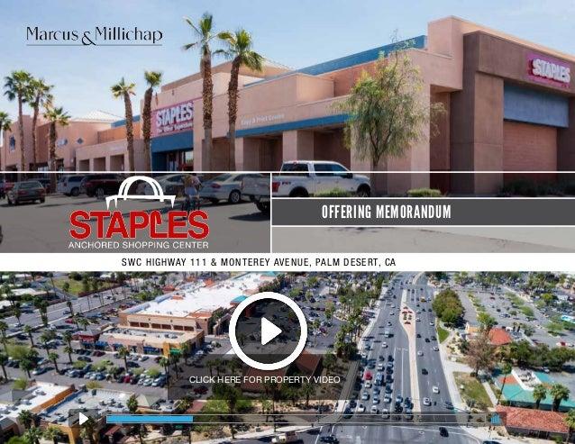 Staples Anchored Shopping Center In Palm Desert CA