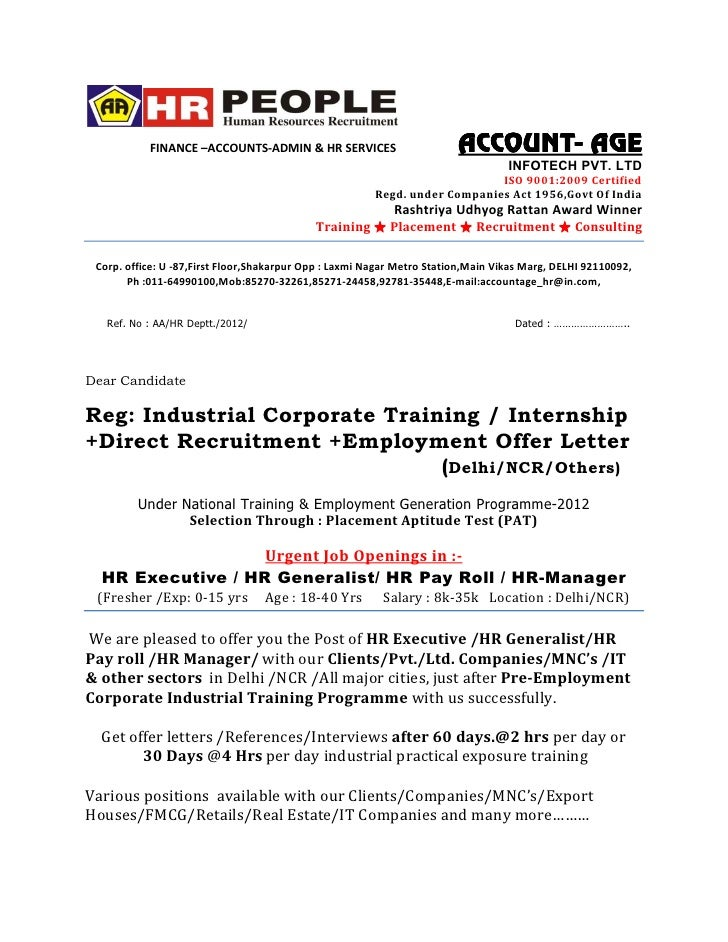 Offer Letter Hr Final. FINANCE U2013ACCOUNTS ADMIN U0026 HR SERVICES ...