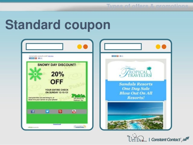 Types of offers & promotions Standard coupon