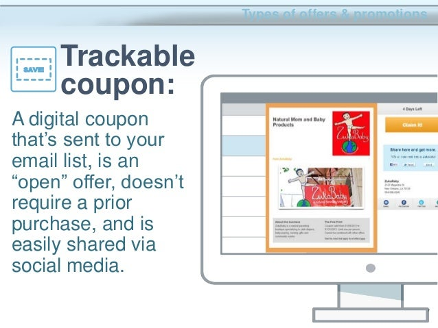 """25 A digital coupon that's sent to your email list, is an """"open"""" offer, doesn't require a prior purchase, and is easily sh..."""