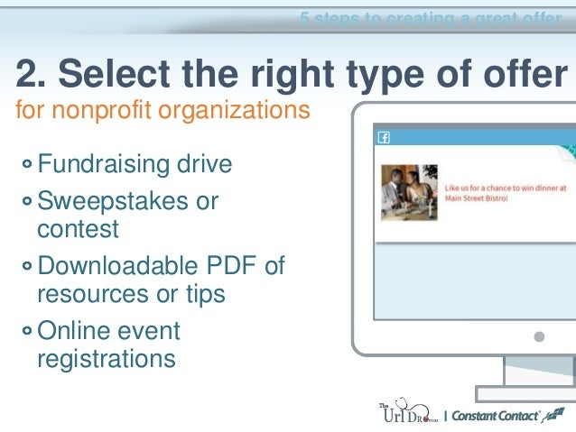 Fundraising drive Sweepstakes or contest Downloadable PDF of resources or tips Online event registrations 5 steps to creat...