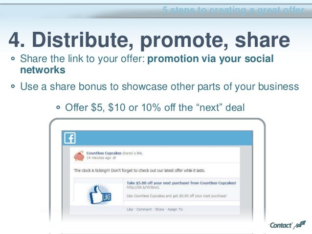 36 Share the link to your offer: promotion via your social networks Use a share bonus to showcase other parts of your busi...