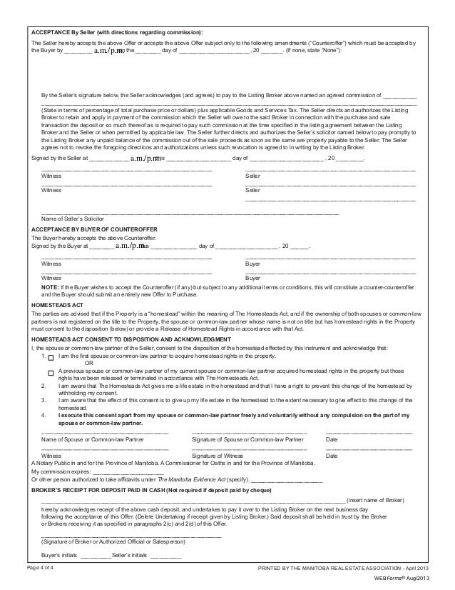 Winnipeg Residential Offer To Purchase Form