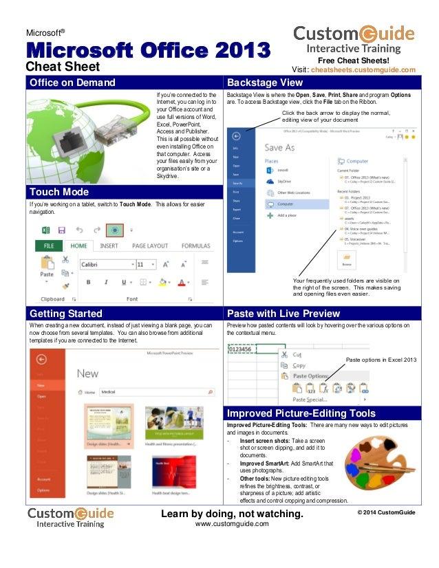 Office 2013-cheat-sheet