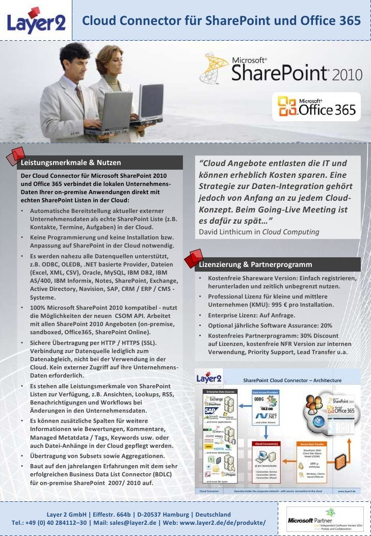 """Cloud Connector für SharePoint und Office 365<br />Leistungsmerkmale & Nutzen<br />""""Cloud Angebote entlasten die IT und kö..."""