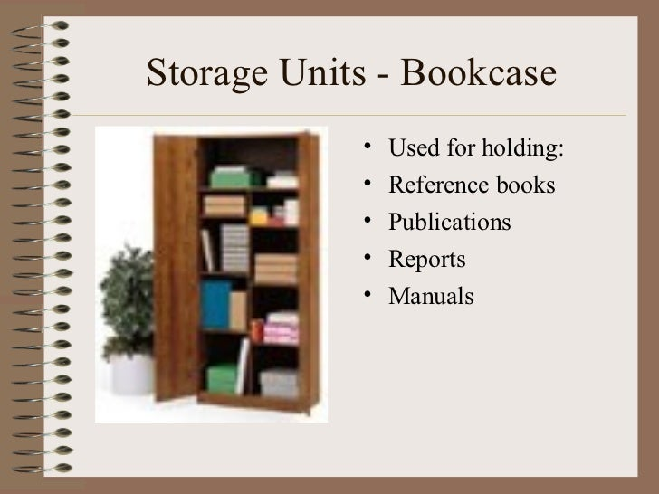 Storage Units - Bookcase <ul><li>Used for holding: </li></ul><ul><li>Reference books </li></ul><ul><li>Publications </li><...