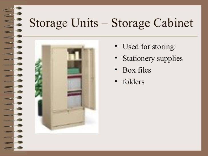 Storage Units – Storage Cabinet <ul><li>Used for storing: </li></ul><ul><li>Stationery supplies </li></ul><ul><li>Box file...