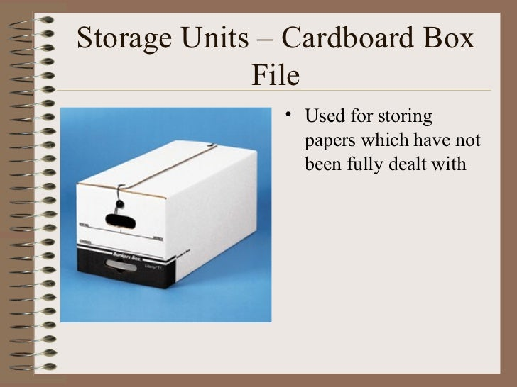 Storage Units – Cardboard Box File <ul><li>Used for storing papers which have not been fully dealt with </li></ul>
