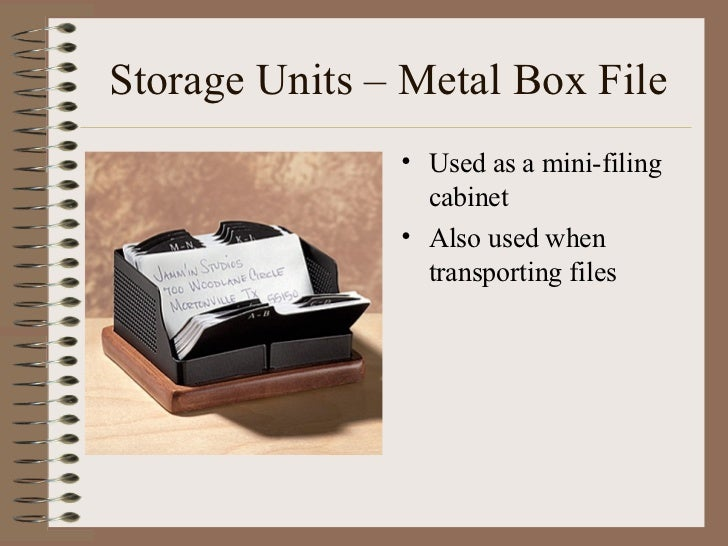 Storage Units – Metal Box File <ul><li>Used as a mini-filing cabinet </li></ul><ul><li>Also used when transporting files <...