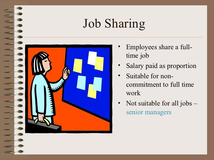 Job Sharing <ul><li>Employees share a full-time job </li></ul><ul><li>Salary paid as proportion </li></ul><ul><li>Suitable...
