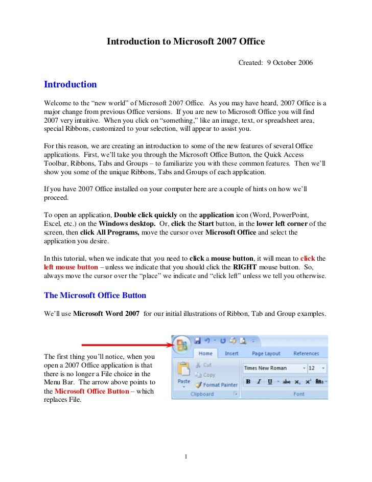 Introduction to Microsoft 2007 Office                                                                    Created: 9 Octobe...