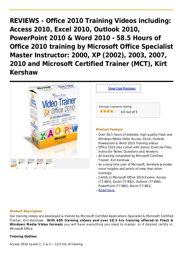 REVIEWS - Office 2010 Training Videos including:Access 2010, Excel 2010, Outlook 2010,PowerPoint 2010 & Word 2010 - 58.5 H...