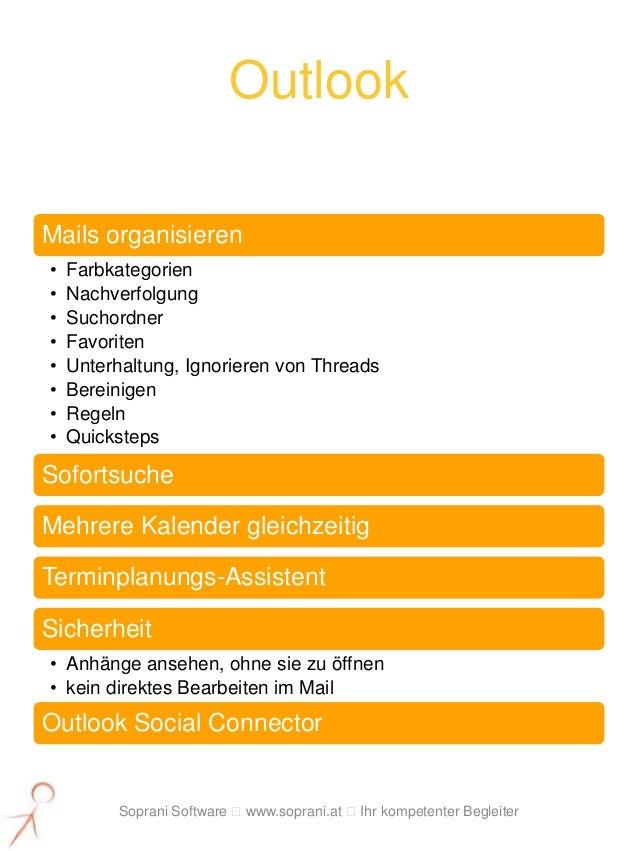 OutlookMails organisieren•   Farbkategorien•   Nachverfolgung•   Suchordner•   Favoriten•   Unterhaltung, Ignorieren von T...