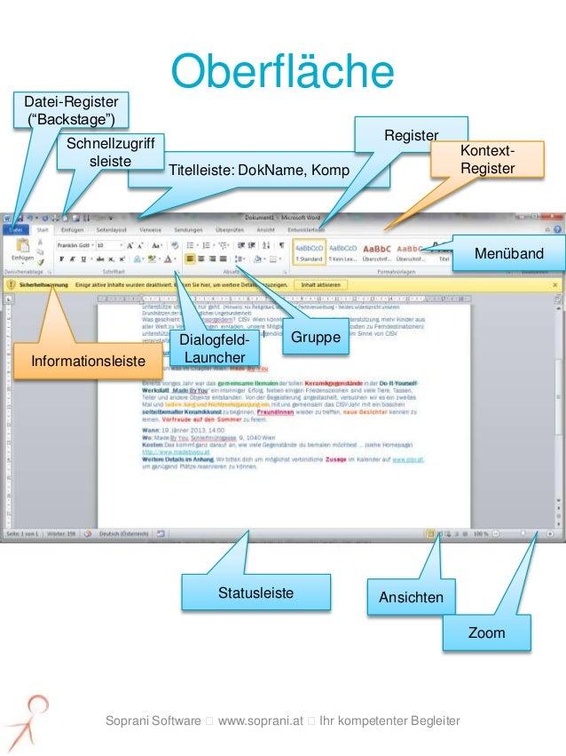 """Datei-Register                       Oberfläche(""""Backstage"""")                                                          Regi..."""