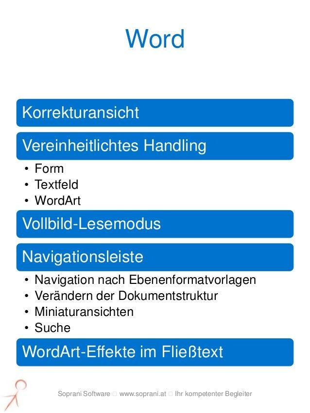 WordKorrekturansichtVereinheitlichtes Handling• Form• Textfeld• WordArtVollbild-LesemodusNavigationsleiste•   Navigation n...
