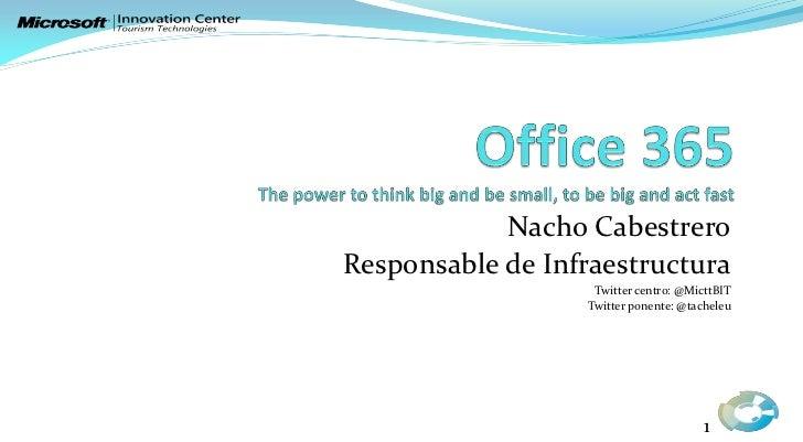 Nacho CabestreroResponsable de Infraestructura                   Twitter centro: @MicttBIT                  Twitter ponent...