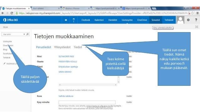 Täällä sun omat  tiedot. Nämä  näkyy kaikille ketkä  edu.porvoo.fi  mukaan pääsevät.  Täällä paljon  säädettävää  Taas kol...