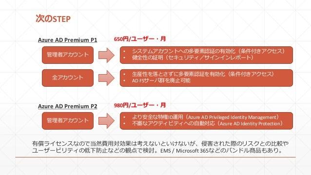 次のSTEP Azure AD Premium P1 Azure AD Premium P2 管理者アカウント • システムアカウントへの多要素認証の有効化(条件付きアクセス) • 健全性の証明(セキュリティ/サインインレポート) 全アカウント...