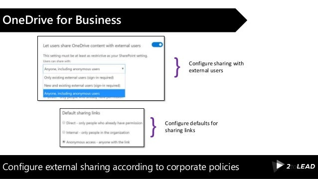 Configure external sharing according to corporate policies OneDrive for Business Configure sharing with external users} Co...