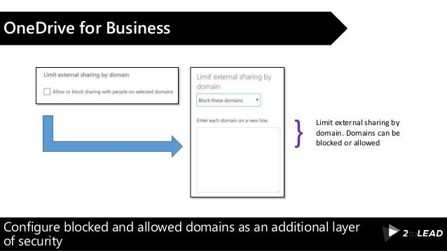 Configure blocked and allowed domains as an additional layer of security OneDrive for Business Limit external sharing by d...