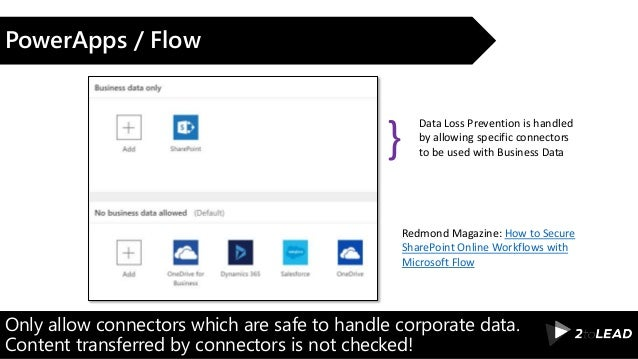 Only allow connectors which are safe to handle corporate data. Content transferred by connectors is not checked! PowerApps...