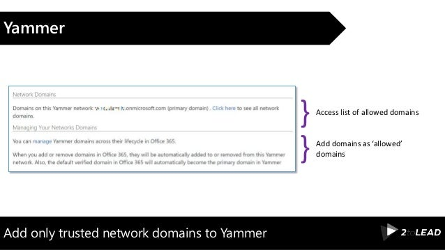 Add only trusted network domains to Yammer Yammer Access list of allowed domains } Add domains as 'allowed' domains}