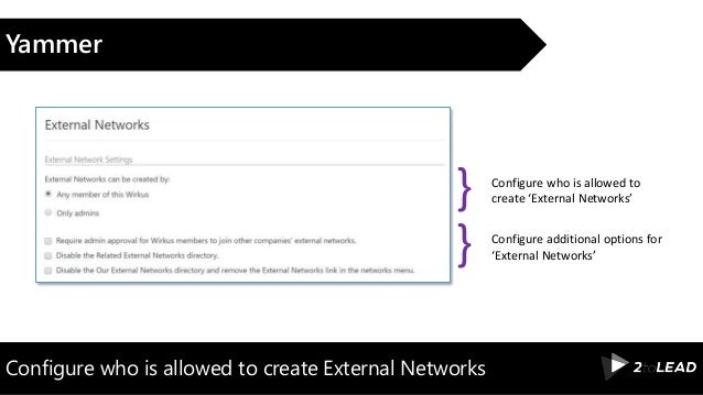 Configure who is allowed to create External Networks Yammer Configure who is allowed to create 'External Networks'} Config...