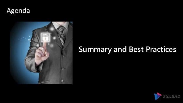 Summary and Best Practices Agenda