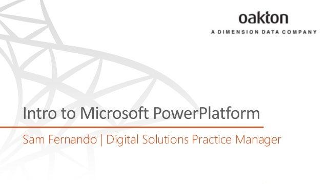 Sam Fernando   Digital Solutions Practice Manager