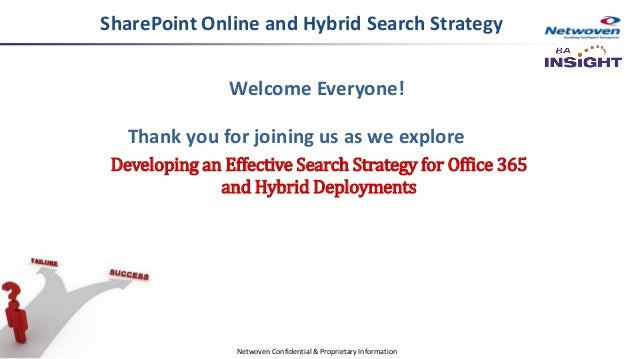 Welcome Everyone! Thank you for joining us as we explore Developing an Effective Search Strategy for Office 365 and Hybrid...