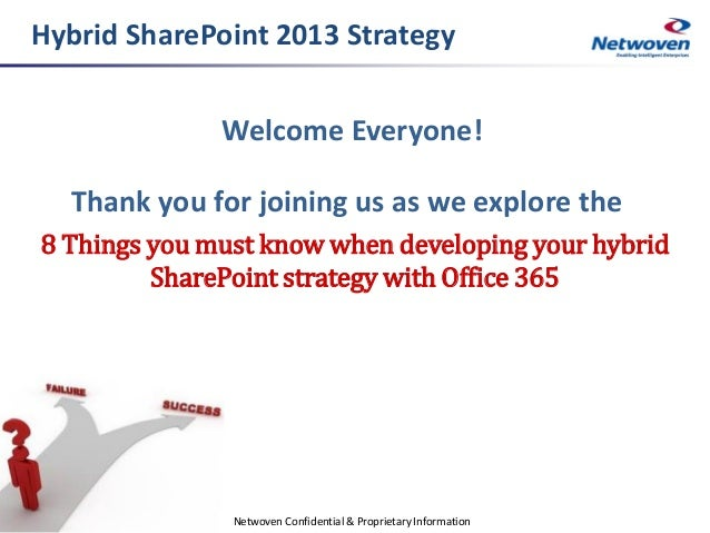 Hybrid SharePoint 2013 Strategy Welcome Everyone!  Thank you for joining us as we explore the 8 Things you must know when ...