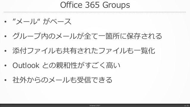 "Office 365 Groups • ""メール"" がベース • グループ内のメールが全て一箇所に保存される • 添付ファイルも共有されたファイルも一覧化 • Outlook との親和性がすごく高い • 社外からのメールも受信できる Inter..."