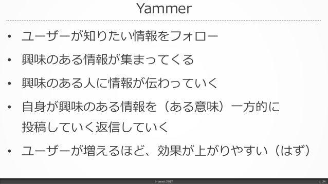 Yammer • ユーザーが知りたい情報をフォロー • 興味のある情報が集まってくる • 興味のある人に情報が伝わっていく • 自身が興味のある情報を(ある意味)一方的に 投稿していく返信していく • ユーザーが増えるほど、効果が上がりやすい(...