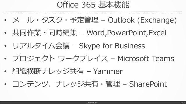 Office 365 基本機能 • メール・タスク・予定管理 – Outlook (Exchange) • 共同作業・同時編集 – Word,PowerPoint,Excel • リアルタイム会議 – Skype for Business • ...