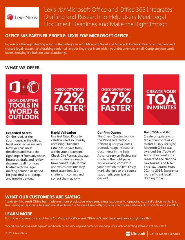 Lexis For Microsoft Office Office Partner Datasheet - Legal document drafting software