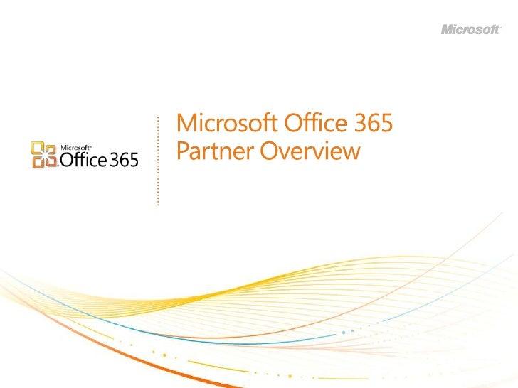 Partner Overview of Office 365 (BPOS v2.0)
