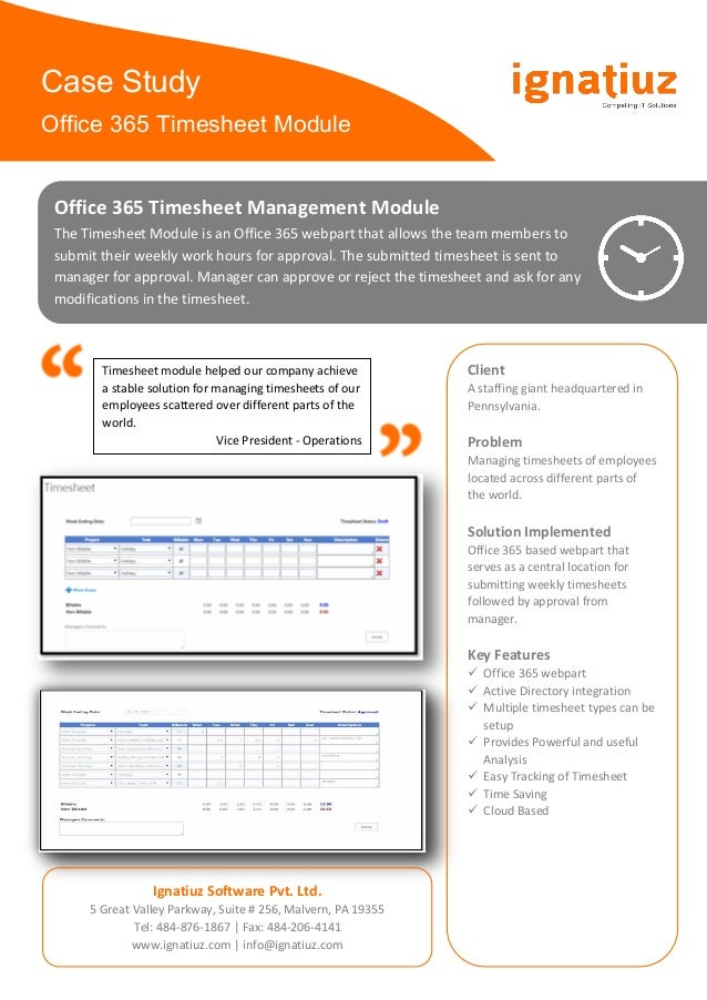 case study office 365 timesheet module office 365 timesheet management module the timesheet module is an