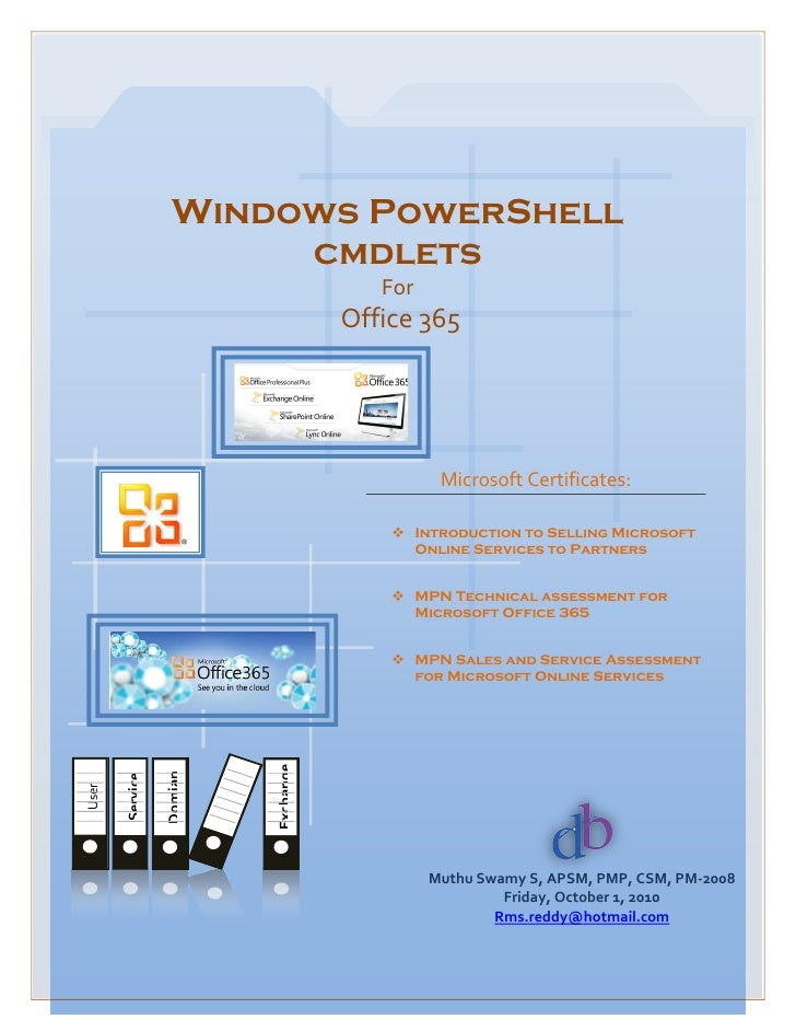 Windows PowerShell                        cmdlets                                        For                              ...