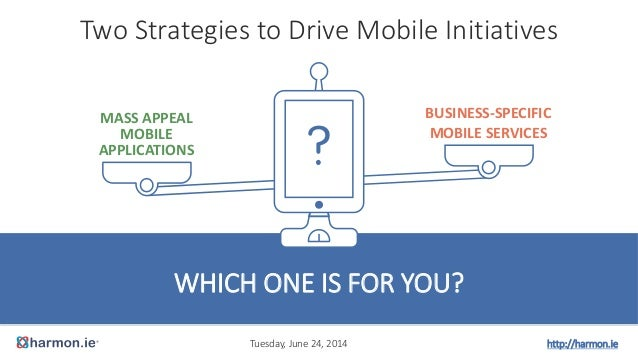Two Strategies to Drive Mobile Initiatives WHICH ONE IS FOR YOU? MASS APPEAL MOBILE APPLICATIONS BUSINESS-SPECIFIC MOBILE ...
